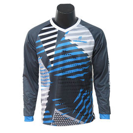 2020 V Neck Men'S Long Sleeve MTB Jersey / Road Cycling Clothing 100% Polyester