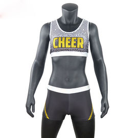 Custom Sublimated School Cheer Dance Clothes Bra And Shorts Eco Friendly